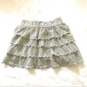 Abercrombie & Fitch Tiered Mesh Lace Mini Skirt